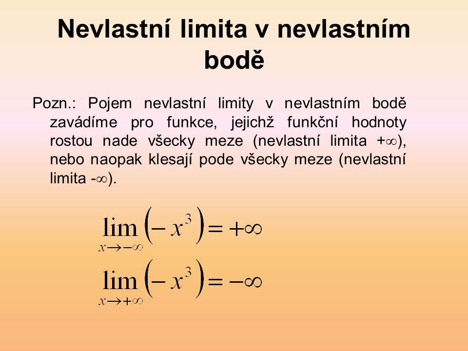 Nevlastní limita v nevlastním bodě Pozn.: Pojem nevlastní limity v nevlastním bodě zavádíme pro funkce, jejichž funkční hodnoty rostou nade všecky meze (nevlastní limita +  ), nebo naopak klesají pode všecky meze (nevlastní limita -  ).