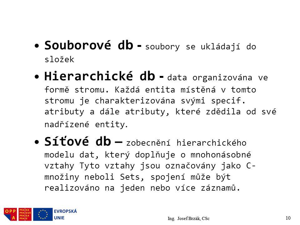 10 Souborové d b - soubory se ukládají do složek Hierarchické d b - data organizována ve formě stromu.