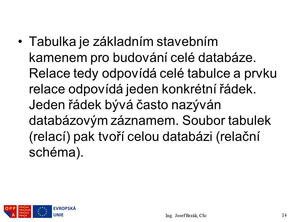 Ing.Josef Brzák, CSc 14 Tabulka je základním stavebním kamenem pro budování celé databáze.