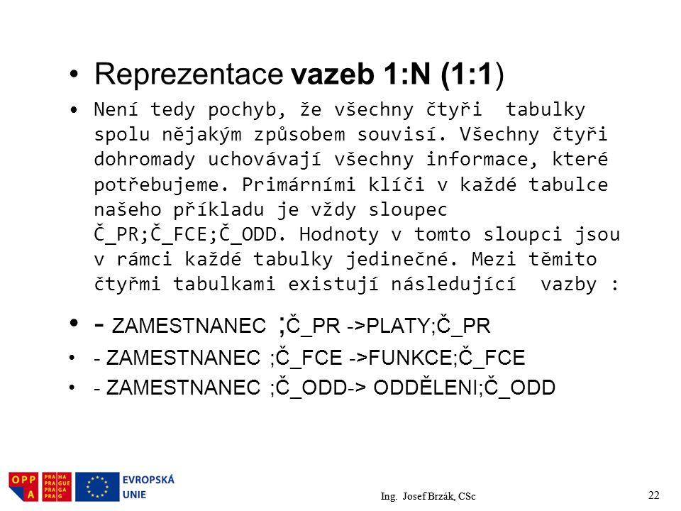 Ing. Josef Brzák, CSc 22 Reprezentace vazeb 1:N (1:1) Není tedy pochyb, že všechny čtyři tabulky spolu nějakým způsobem souvisí. Všechny čtyři dohroma