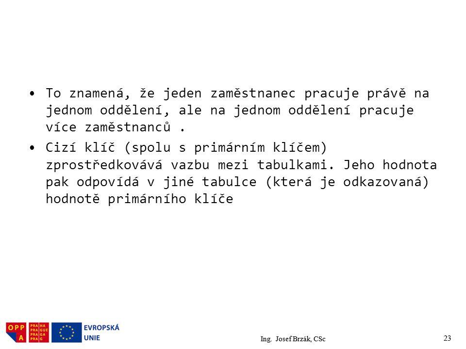 Ing. Josef Brzák, CSc 23 To znamená, že jeden zaměstnanec pracuje právě na jednom oddělení, ale na jednom oddělení pracuje více zaměstnanců. Cizí klíč