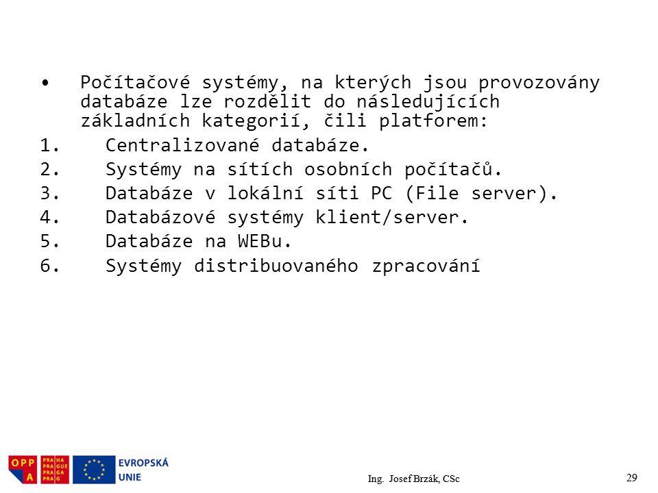 29 Počítačové systémy, na kterých jsou provozovány databáze lze rozdělit do následujících základních kategorií, čili platforem: 1.Centralizované databáze.