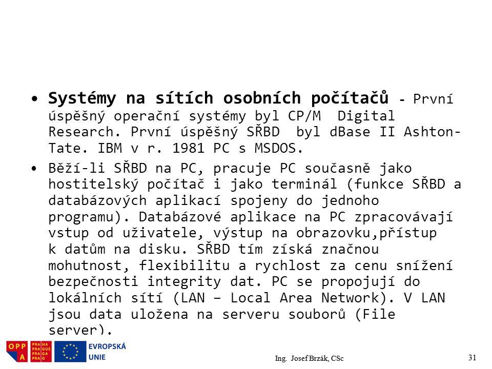31 Systémy na sítích osobních počítačů - První úspěšný operační systémy byl CP/M Digital Research.