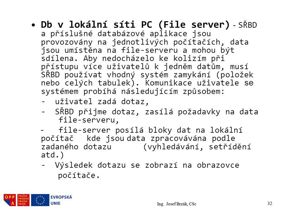32 Db v lokální síti PC (File server) - SŘBD a příslušné databázové aplikace jsou provozovány na jednotlivých počítačích, data jsou umístěna na file-serveru a mohou být sdílena.