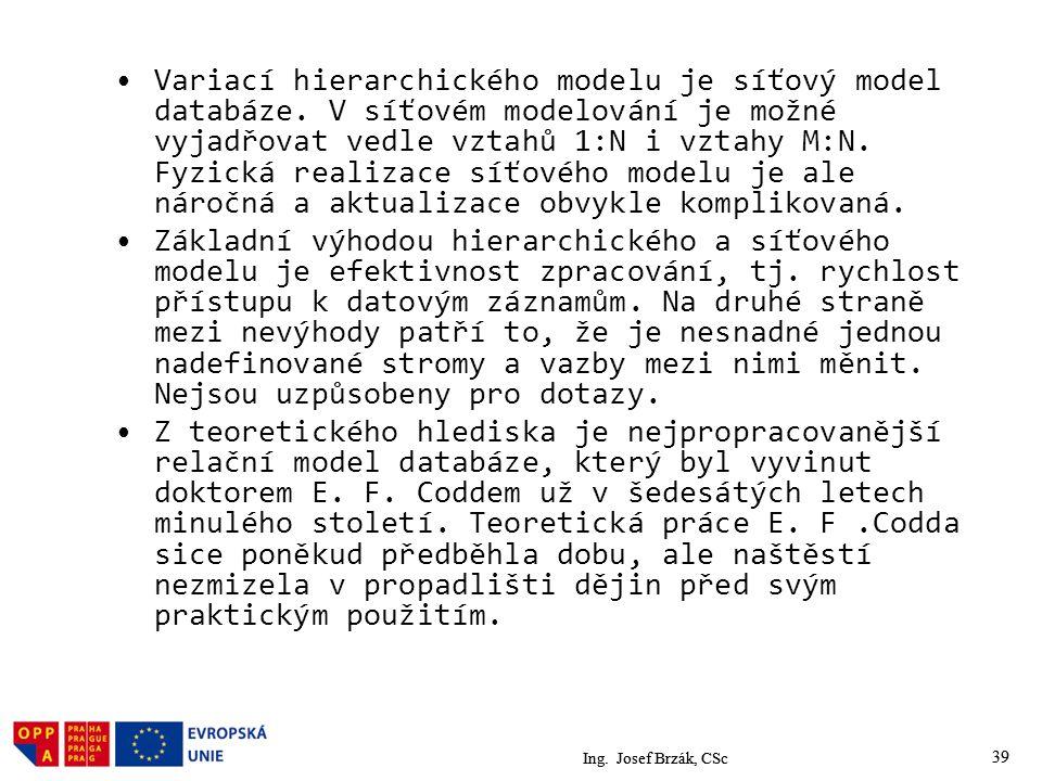39 Variací hierarchického modelu je síťový model databáze.