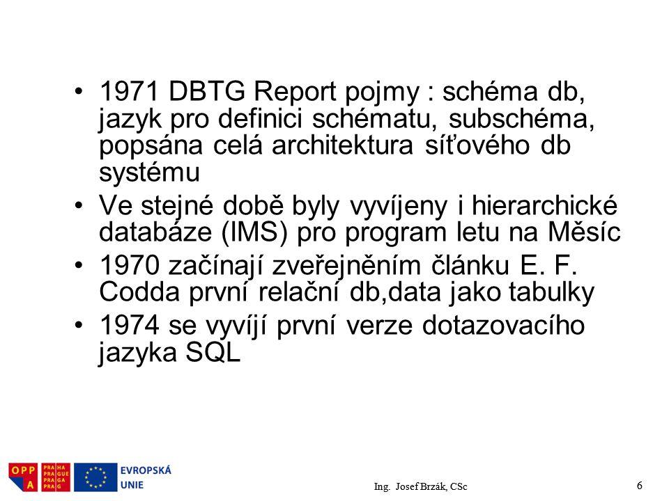 Ing. Josef Brzák, CSc 6 1971 DBTG Report pojmy : schéma db, jazyk pro definici schématu, subschéma, popsána celá architektura síťového db systému Ve s