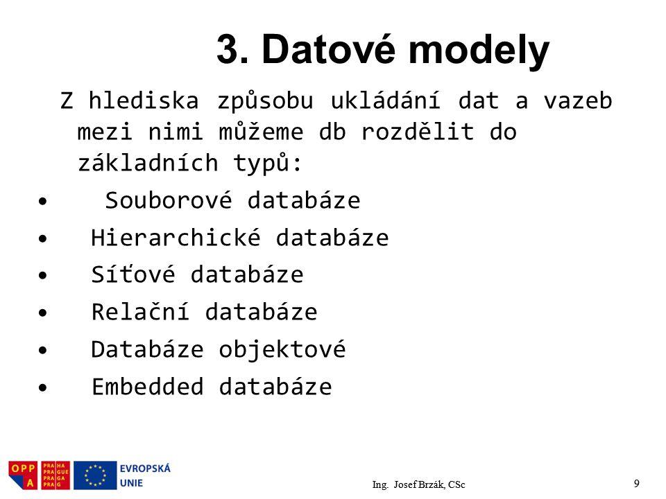 9 3. Datové modely Z hlediska způsobu ukládání dat a vazeb mezi nimi můžeme db rozdělit do základních typů: Souborové databáze Hierarchické databáze S