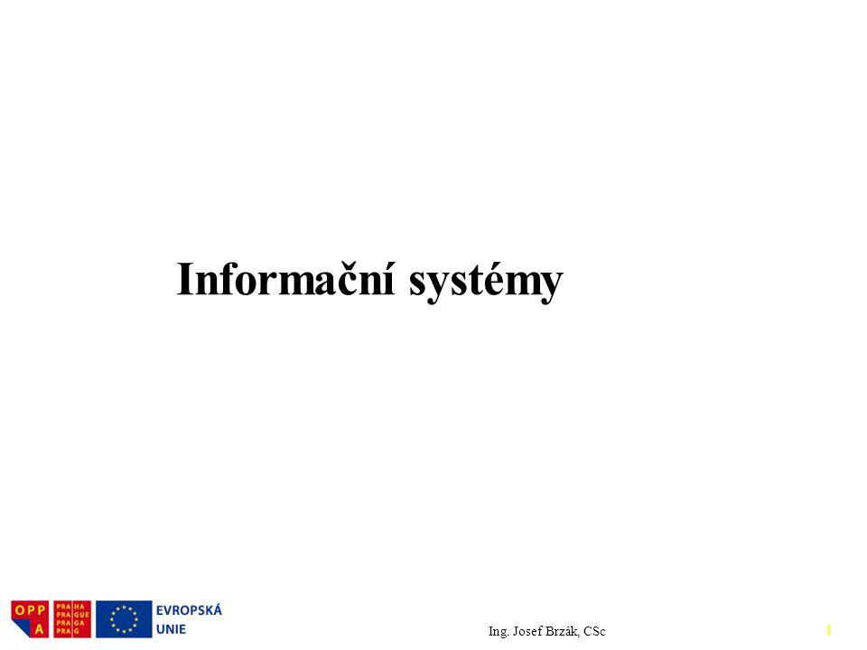 Informační systémy Ing. Josef Brzák, CSc 1