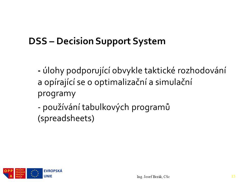DSS – Decision Support System - úlohy podporující obvykle taktické rozhodování a opírající se o optimalizační a simulační programy - používání tabulkových programů (spreadsheets) Ing.