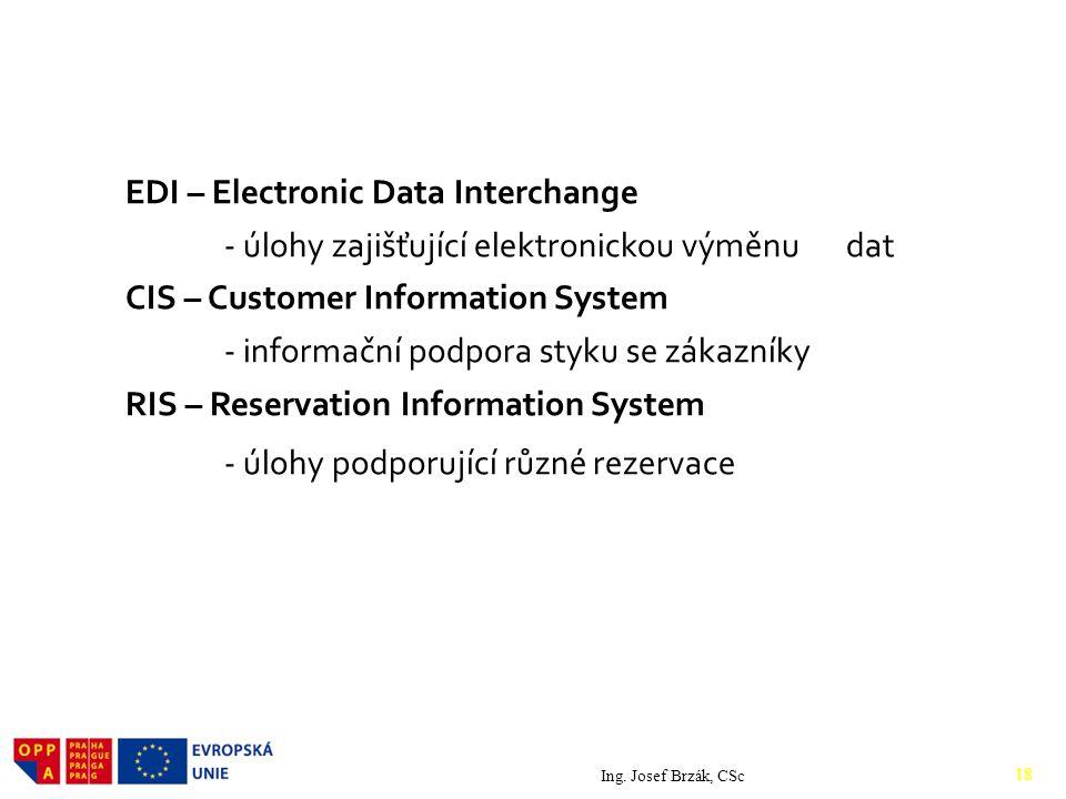 EDI – Electronic Data Interchange - úlohy zajišťující elektronickou výměnu dat CIS – Customer Information System - informační podpora styku se zákazníky RIS – Reservation Information System - úlohy podporující různé rezervace Ing.