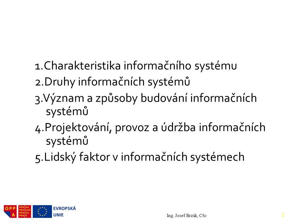 Obsah 1.Charakteristika informačního systému 2.Druhy informačních systémů 3.Význam a způsoby budování informačních systémů 4.Projektování, provoz a údržba informačních systémů 5.Lidský faktor v informačních systémech Ing.