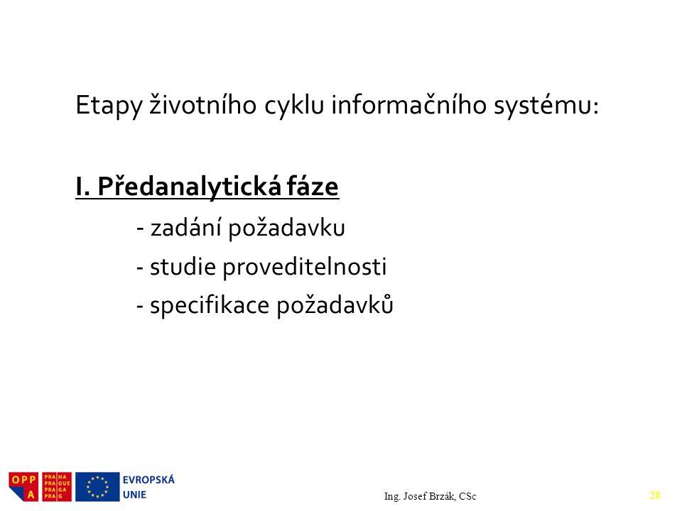 Etapy životního cyklu informačního systému: I.