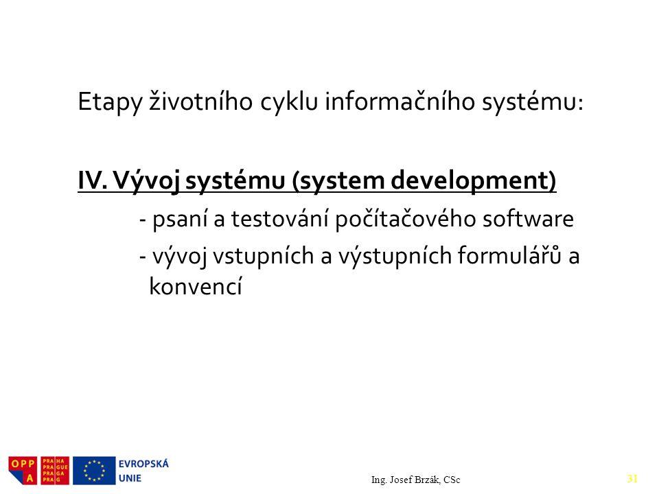 Etapy životního cyklu informačního systému: IV.
