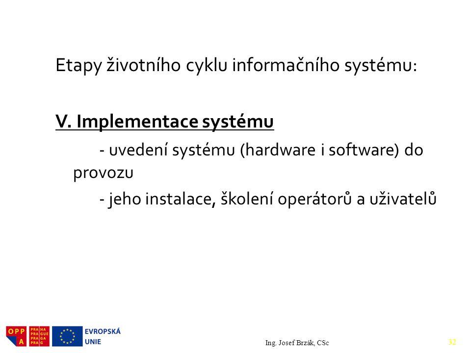 Etapy životního cyklu informačního systému: V.