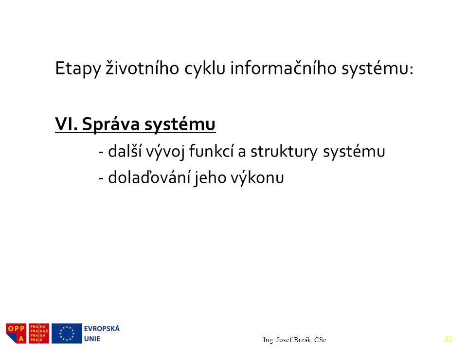 Etapy životního cyklu informačního systému: VI.