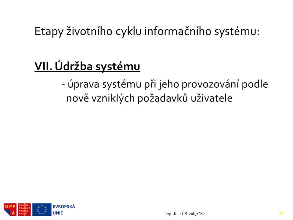 Etapy životního cyklu informačního systému: VII.