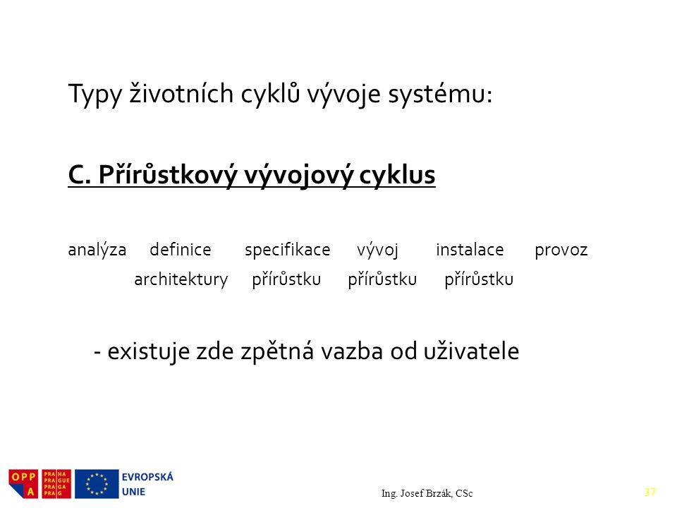 Typy životních cyklů vývoje systému: C.