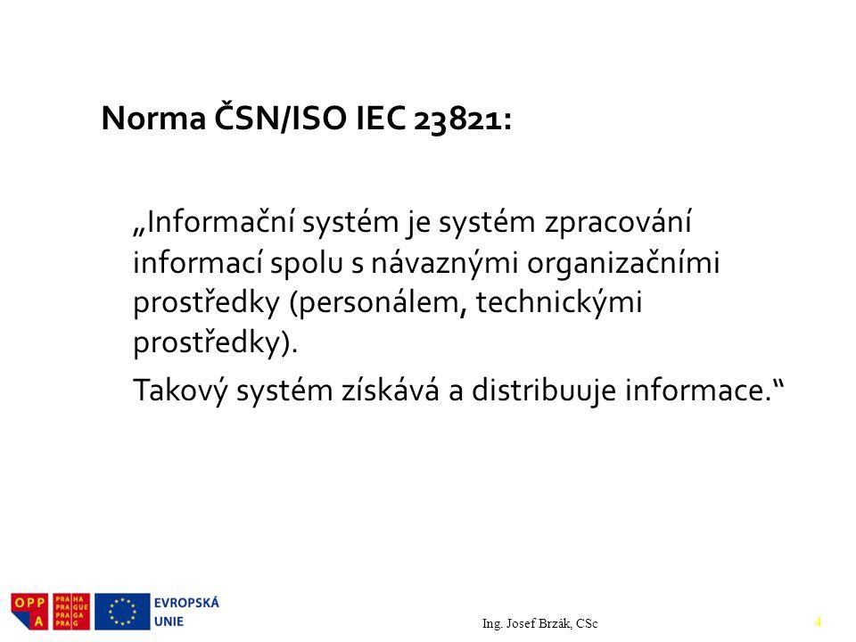 """Norma ČSN/ISO IEC 23821: """" Informační systém je systém zpracování informací spolu s návaznými organizačními prostředky (personálem, technickými prostředky)."""