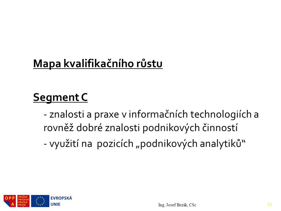 """Mapa kvalifikačního růstu Segment C - znalosti a praxe v informačních technologiích a rovněž dobré znalosti podnikových činností - využití na pozicích """"podnikových analytiků Ing."""