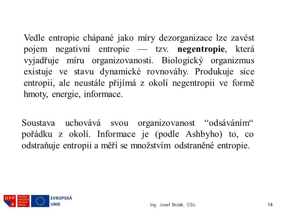 14 Ing. Josef Brzák, CSc. 14 Vedle entropie chápané jako míry dezorganizace lze zavést pojem negativní entropie — tzv. negentropie, která vyjadřuje mí