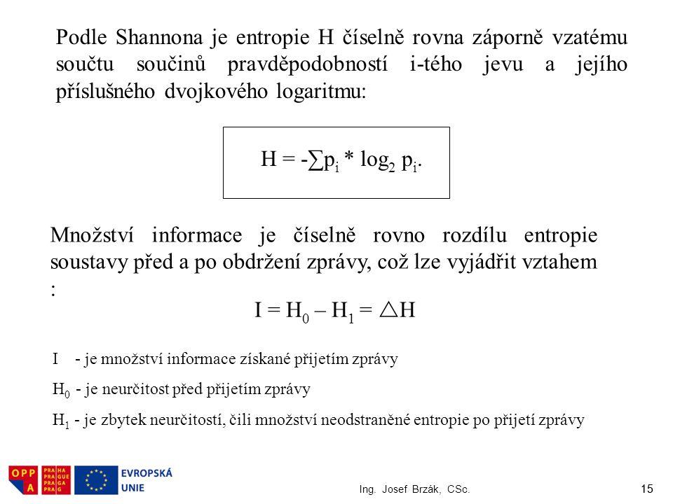 15 Ing. Josef Brzák, CSc. 15 Podle Shannona je entropie H číselně rovna záporně vzatému součtu součinů pravděpodobností i-tého jevu a jejího příslušné