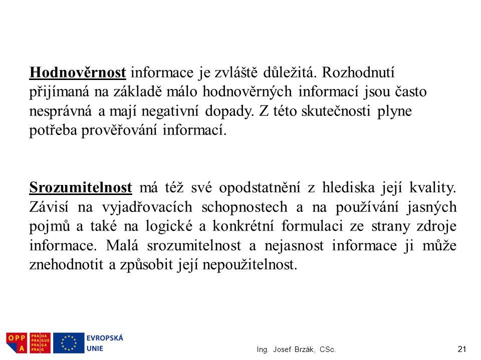 21 Ing. Josef Brzák, CSc. 21 Hodnověrnost informace je zvláště důležitá. Rozhodnutí přijímaná na základě málo hodnověrných informací jsou často nesprá
