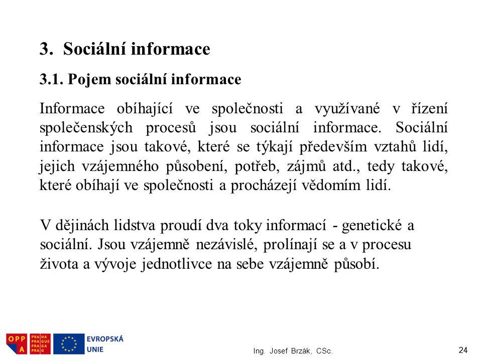 24 Ing. Josef Brzák, CSc. 24 3. Sociální informace 3.1. Pojem sociální informace Informace obíhající ve společnosti a využívané v řízení společenských