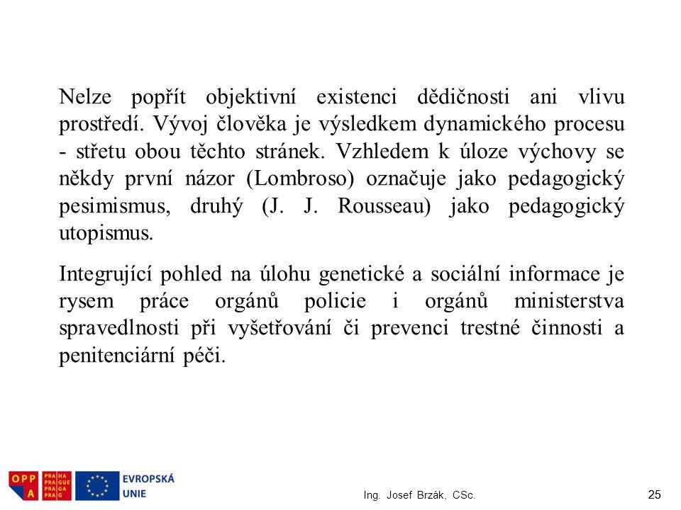 25 Ing. Josef Brzák, CSc. 25 Nelze popřít objektivní existenci dědičnosti ani vlivu prostředí. Vývoj člověka je výsledkem dynamického procesu - střetu