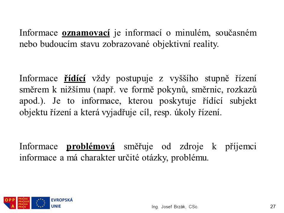 27 Ing. Josef Brzák, CSc. 27 Informace oznamovací je informací o minulém, současném nebo budoucím stavu zobrazované objektivní reality. Informace řídí
