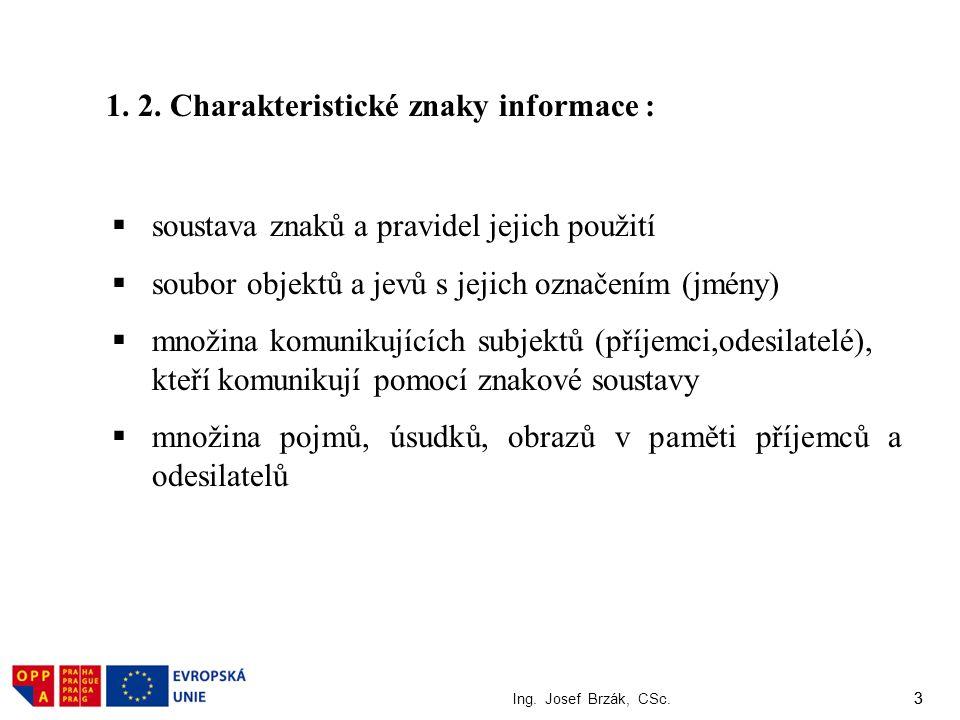 3 Ing. Josef Brzák, CSc. 3  soustava znaků a pravidel jejich použití  soubor objektů a jevů s jejich označením (jmény)  množina komunikujících subj