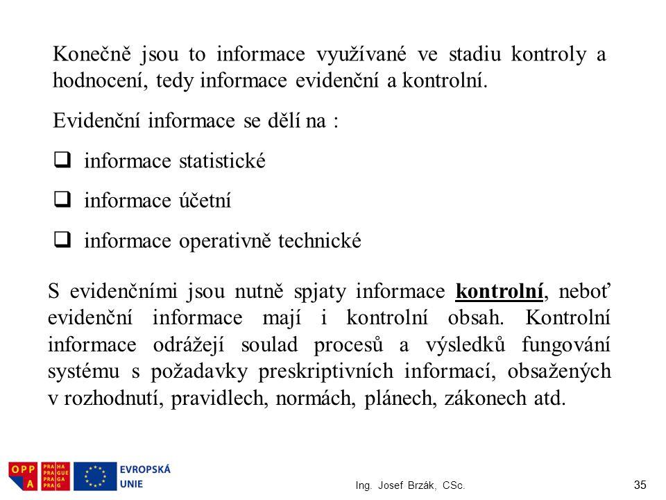 35 Ing. Josef Brzák, CSc. 35 Konečně jsou to informace využívané ve stadiu kontroly a hodnocení, tedy informace evidenční a kontrolní. Evidenční infor