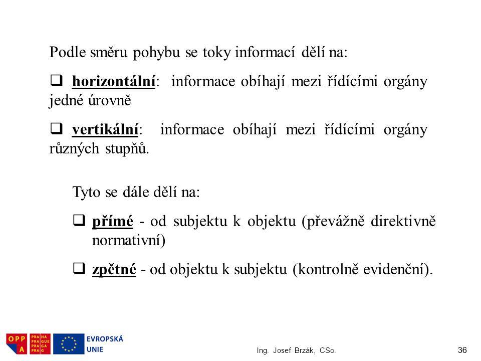 36 Ing. Josef Brzák, CSc. 36 Podle směru pohybu se toky informací dělí na:  horizontální: informace obíhají mezi řídícími orgány jedné úrovně  verti