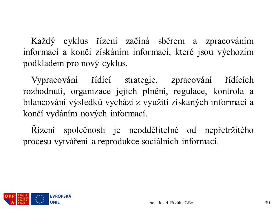 39 Ing. Josef Brzák, CSc. 39 Každý cyklus řízení začíná sběrem a zpracováním informací a končí získáním informací, které jsou výchozím podkladem pro n