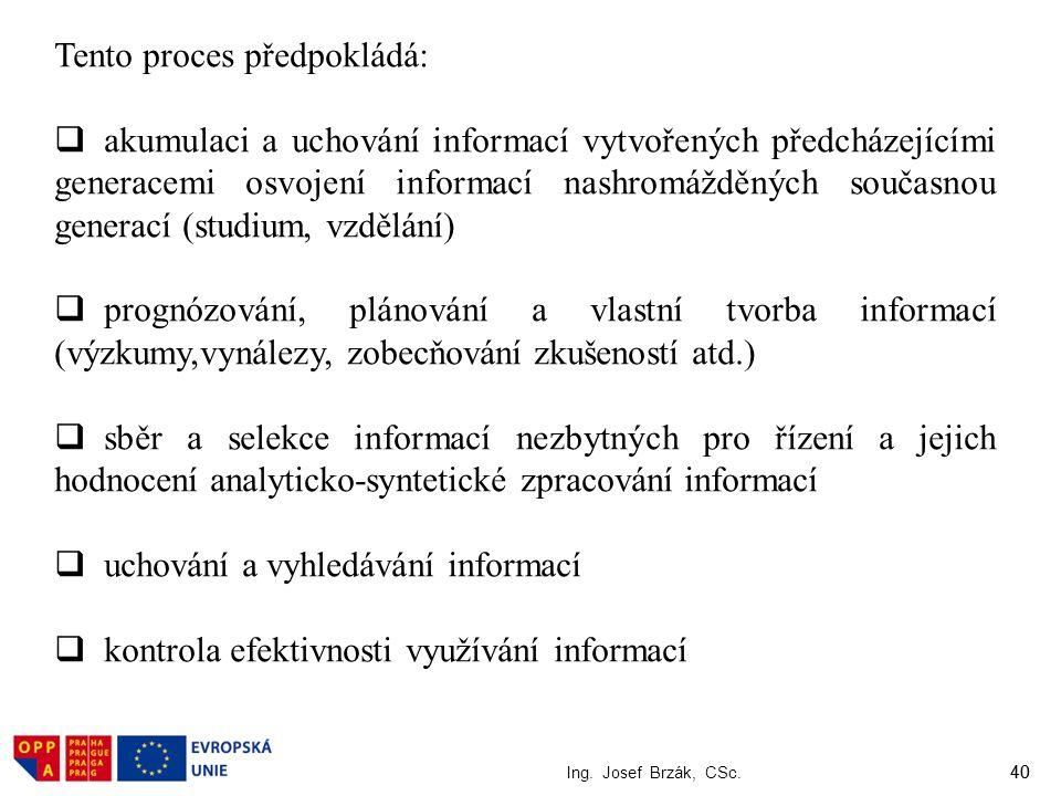 40 Ing. Josef Brzák, CSc. 40 Tento proces předpokládá:  akumulaci a uchování informací vytvořených předcházejícími generacemi osvojení informací nash