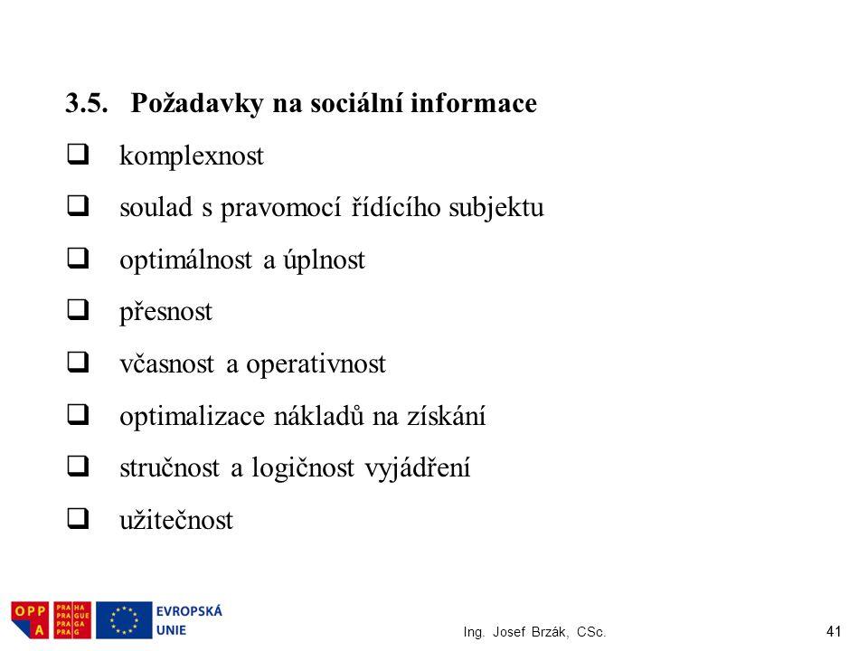 41 Ing. Josef Brzák, CSc. 41 3.5. Požadavky na sociální informace  komplexnost  soulad s pravomocí řídícího subjektu  optimálnost a úplnost  přesn