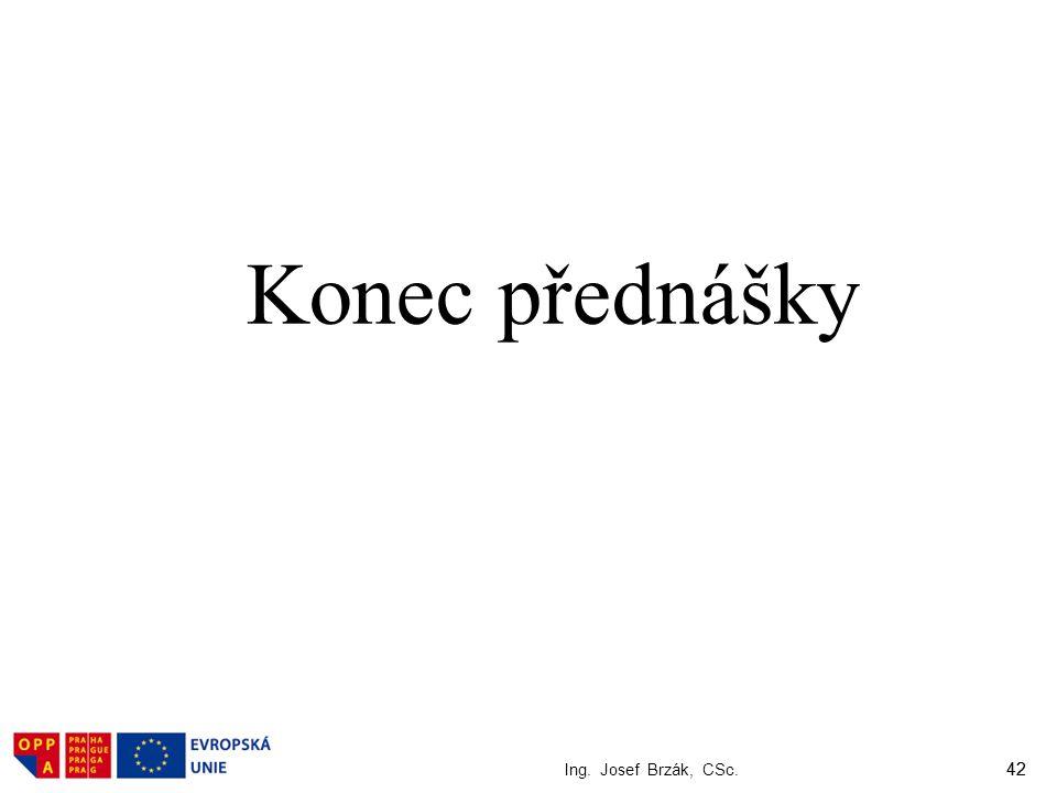 42 Ing. Josef Brzák, CSc. 42 Konec přednášky