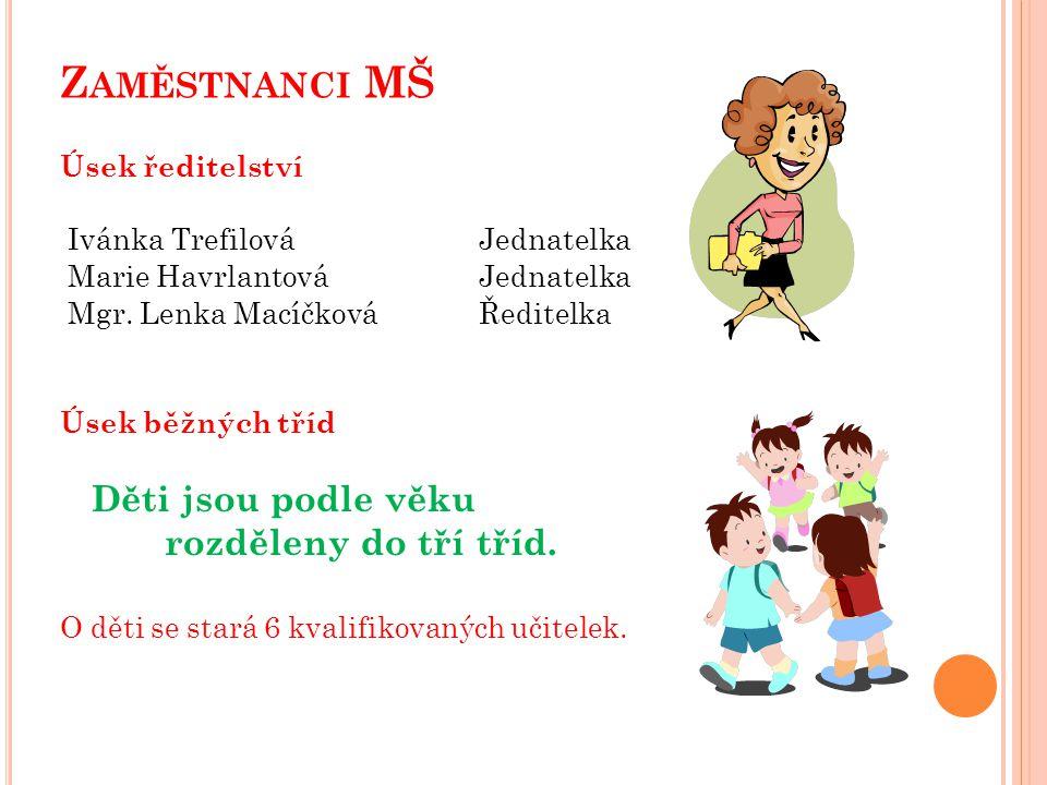 Z AMĚSTNANCI MŠ Úsek ředitelství Ivánka TrefilováJednatelka Marie HavrlantováJednatelka Mgr.