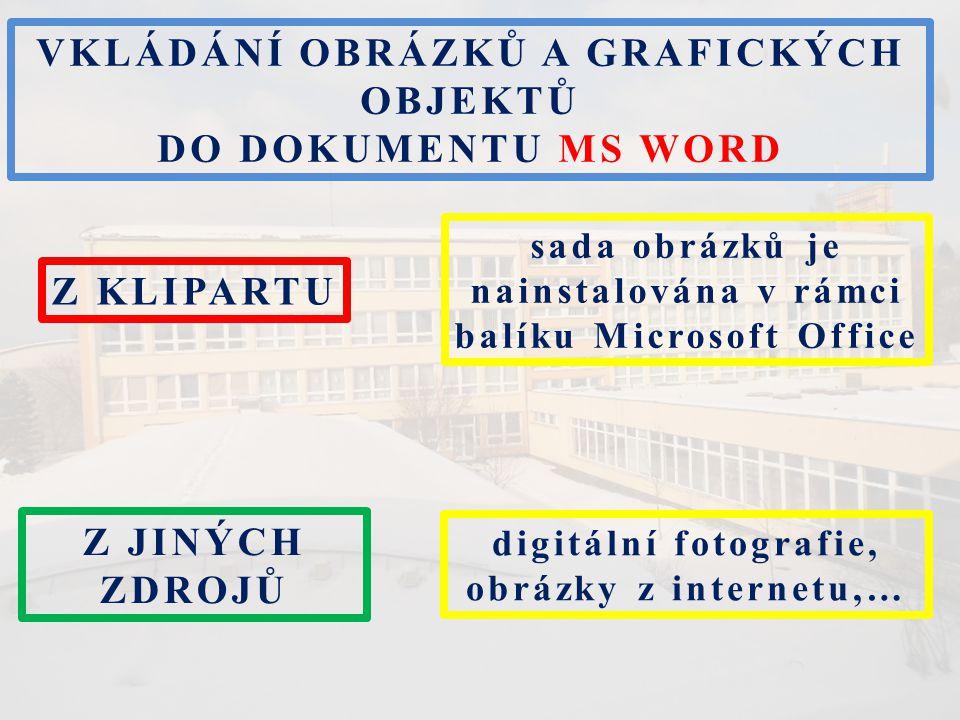 Z KLIPARTU VKLÁDÁNÍ OBRÁZKŮ A GRAFICKÝCH OBJEKTŮ DO DOKUMENTU MS WORD Z JINÝCH ZDROJŮ sada obrázků je nainstalována v rámci balíku Microsoft Office di