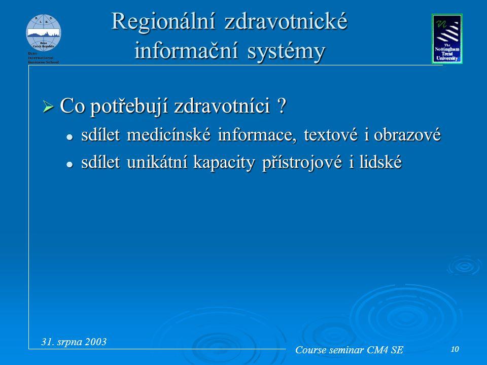 Course seminar CM4 SE 31. srpna 2003 10 Regionální zdravotnické informační systémy  Co potřebují zdravotníci ? sdílet medicínské informace, textové i