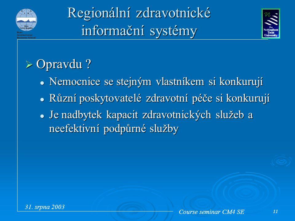 Course seminar CM4 SE 31. srpna 2003 11 Regionální zdravotnické informační systémy  Opravdu ? Nemocnice se stejným vlastníkem si konkurují Nemocnice