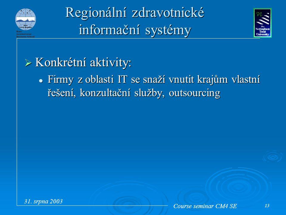 Course seminar CM4 SE 31. srpna 2003 13 Regionální zdravotnické informační systémy  Konkrétní aktivity: Firmy z oblasti IT se snaží vnutit krajům vla