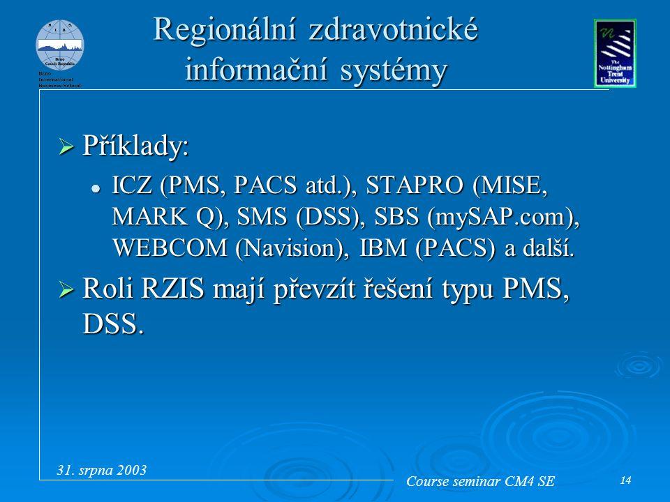 Course seminar CM4 SE 31. srpna 2003 14 Regionální zdravotnické informační systémy  Příklady: ICZ (PMS, PACS atd.), STAPRO (MISE, MARK Q), SMS (DSS),