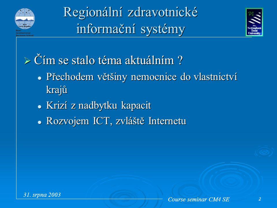 Course seminar CM4 SE 31. srpna 2003 2 Regionální zdravotnické informační systémy  Čím se stalo téma aktuálním ? Přechodem většiny nemocnice do vlast