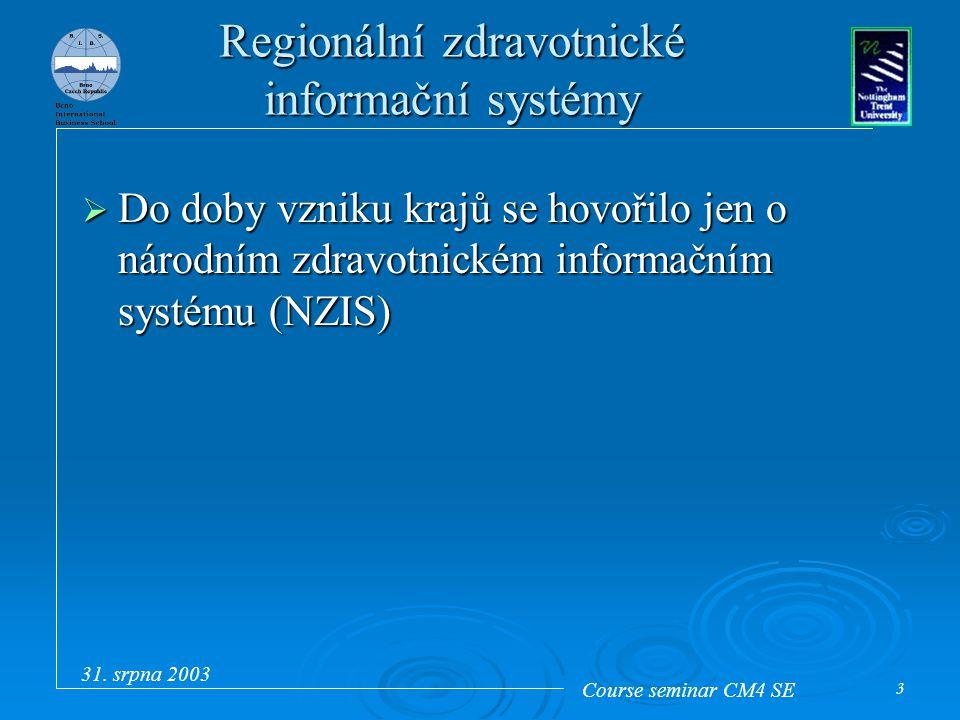 Course seminar CM4 SE 31. srpna 2003 3 Regionální zdravotnické informační systémy  Do doby vzniku krajů se hovořilo jen o národním zdravotnickém info