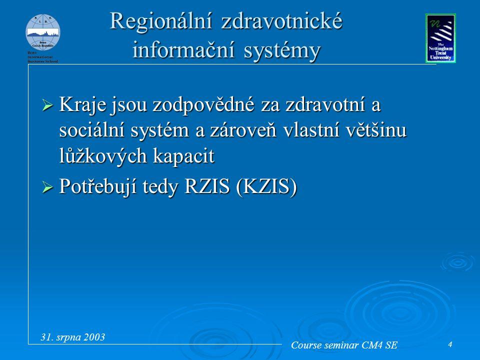 Course seminar CM4 SE 31. srpna 2003 4 Regionální zdravotnické informační systémy  Kraje jsou zodpovědné za zdravotní a sociální systém a zároveň vla