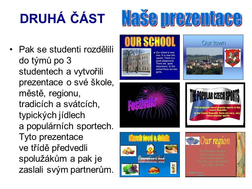 DRUHÁ ČÁST Pak se studenti rozdělili do týmů po 3 studentech a vytvořili prezentace o své škole, městě, regionu, tradicích a svátcích, typických jídlech a populárních sportech.