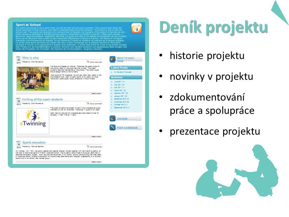 Deník projektu historie projektu novinky v projektu zdokumentování práce a spolupráce prezentace projektu