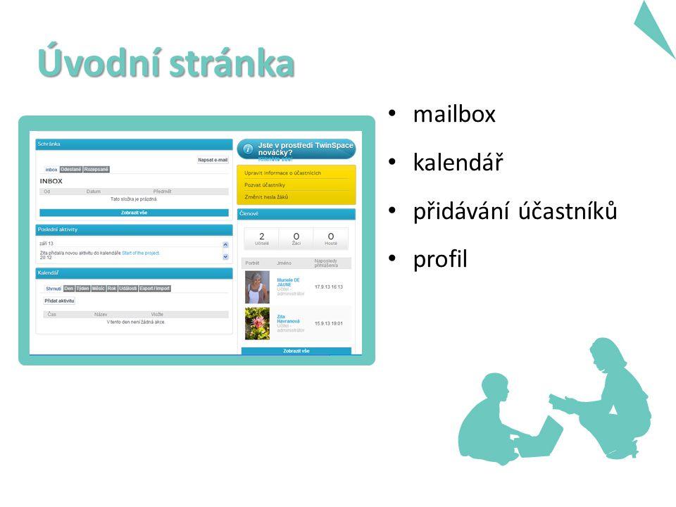 mailbox kalendář přidávání účastníků profil Úvodní stránka