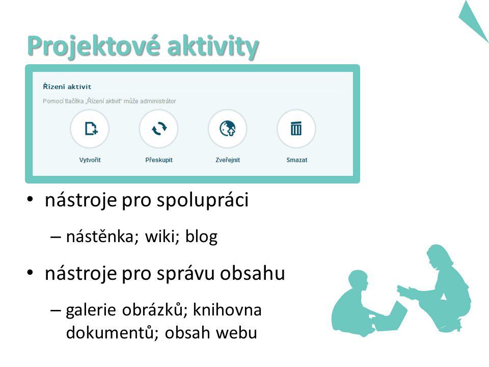 nástroje pro spolupráci – nástěnka; wiki; blog nástroje pro správu obsahu – galerie obrázků; knihovna dokumentů; obsah webu Projektové aktivity