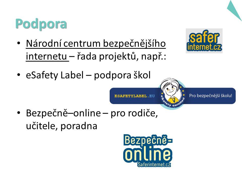 Národní centrum bezpečnějšího internetu – řada projektů, např.: eSafety Label – podpora škol Bezpečně–online – pro rodiče, učitele, poradna Podpora